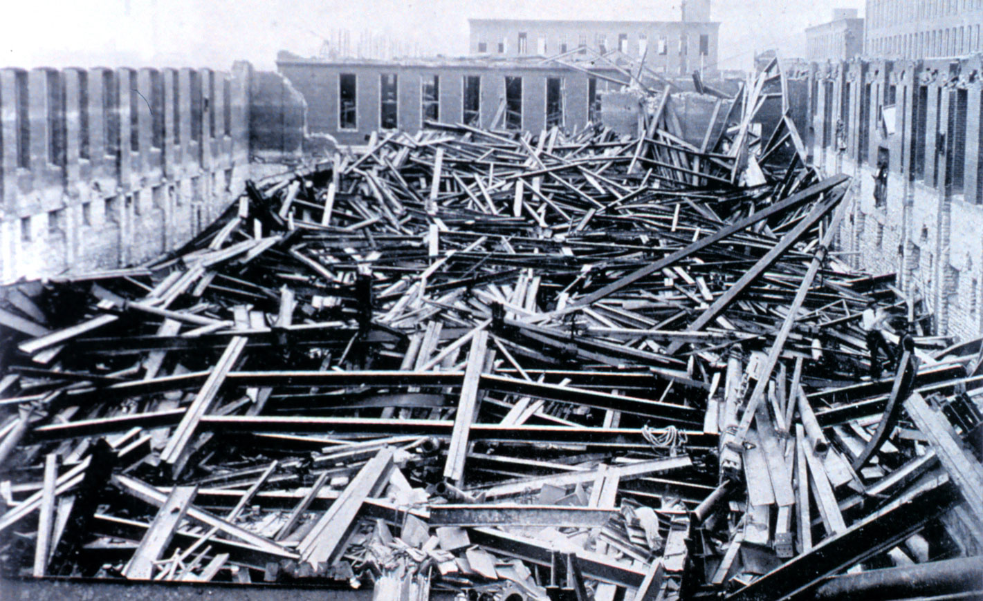 Photo of the Liggett and Myers Tobacco Factory after the May 27, 1896, Great St. Louis Tornado