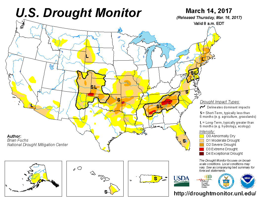 Map of U.S. drought conditions for March 14, 2017