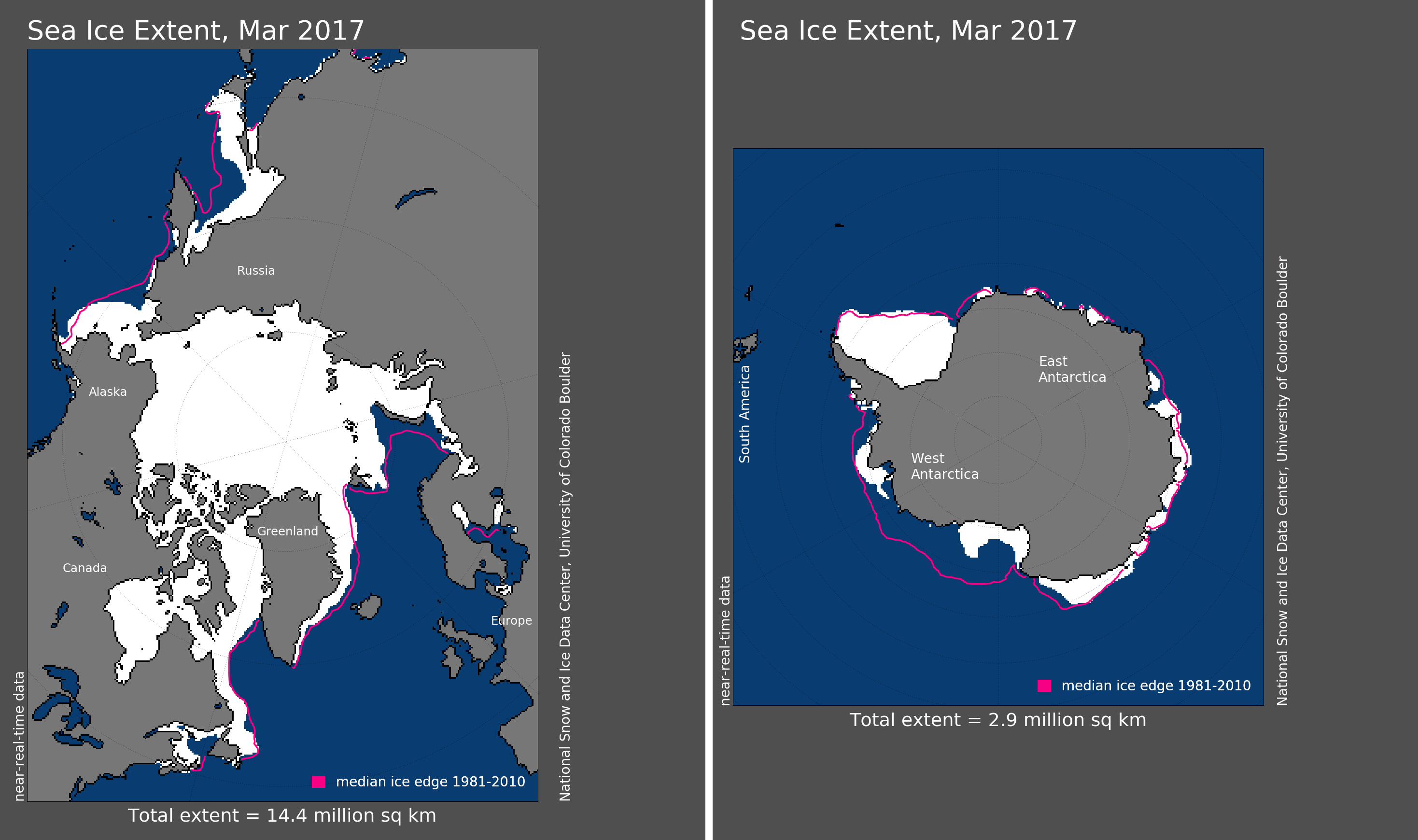 Maps of Arctic and Antarctic sea ice extent in March 2017