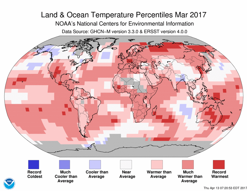 Map of March 2017 global temperature percentiles