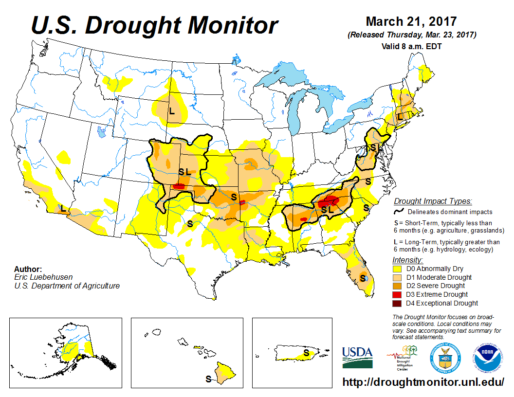 Us Drought Monitor Update For March National Centers Us Drought Monitor Map