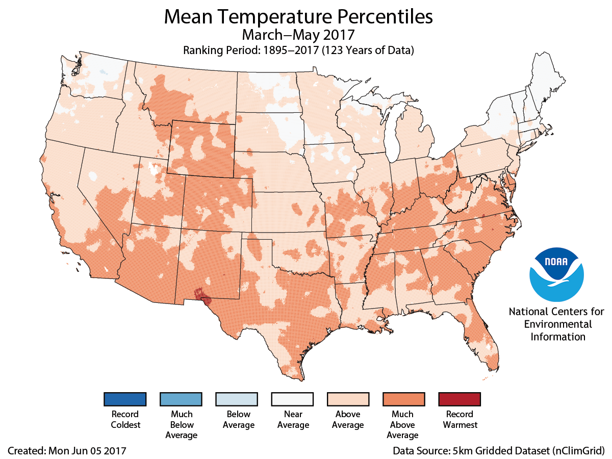 Map of March to May 2017 U.S. average temperature percentiles