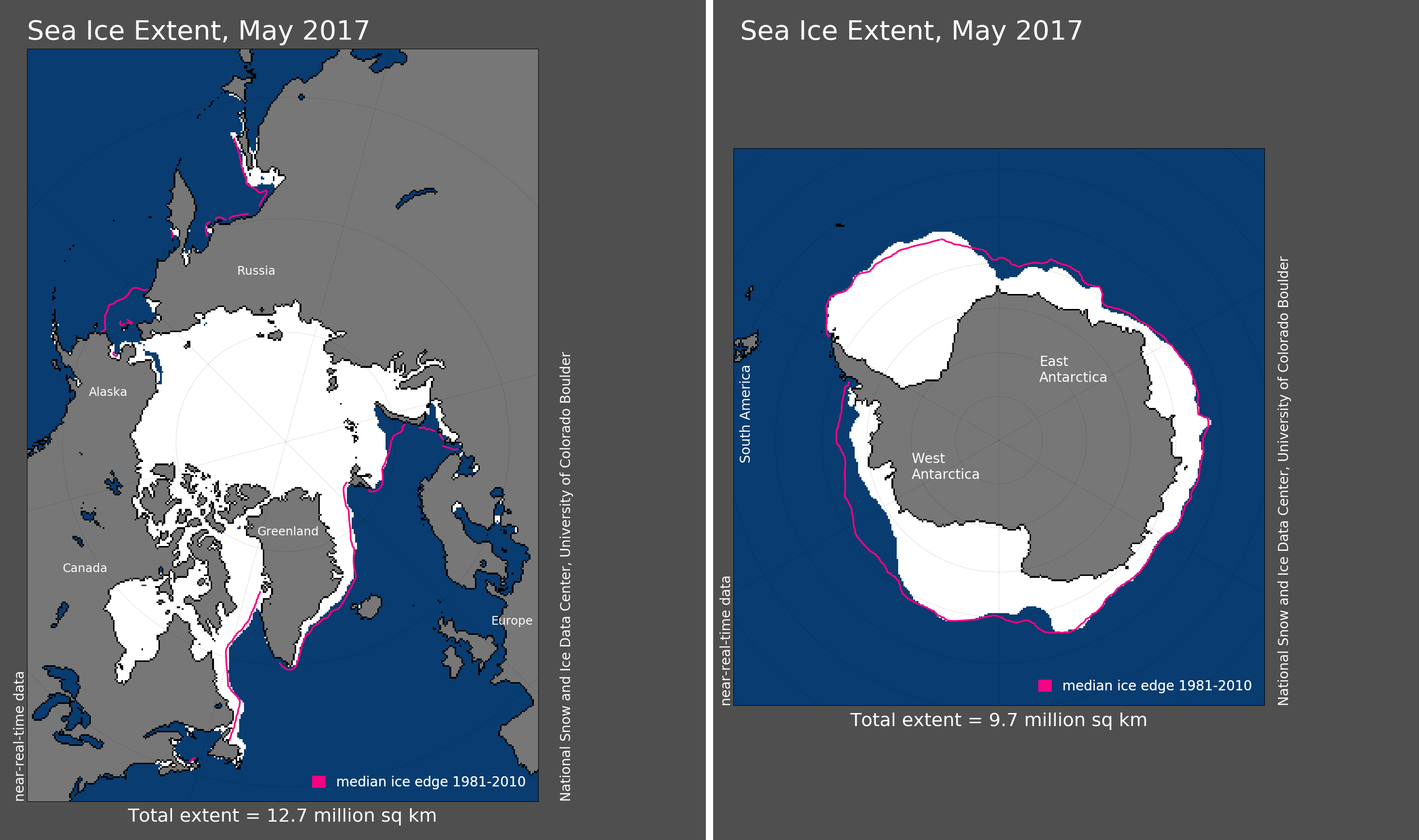Maps of Arctic and Antarctic sea ice extent in May 2017