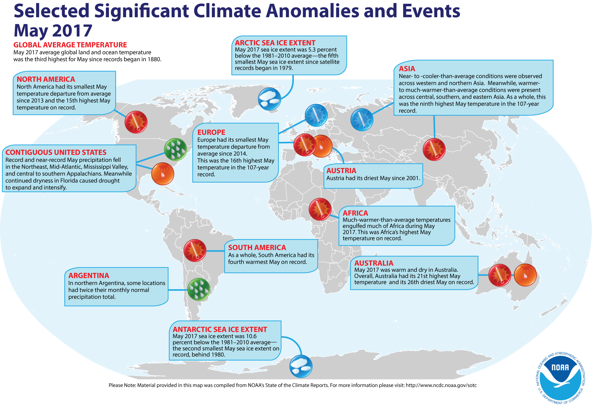 Map of global selected significant climate anomalies and events for May 2017