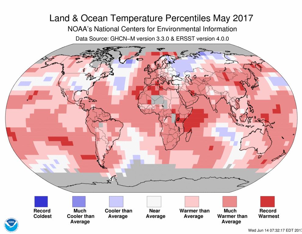 Map of global temperature percentiles for May 2017