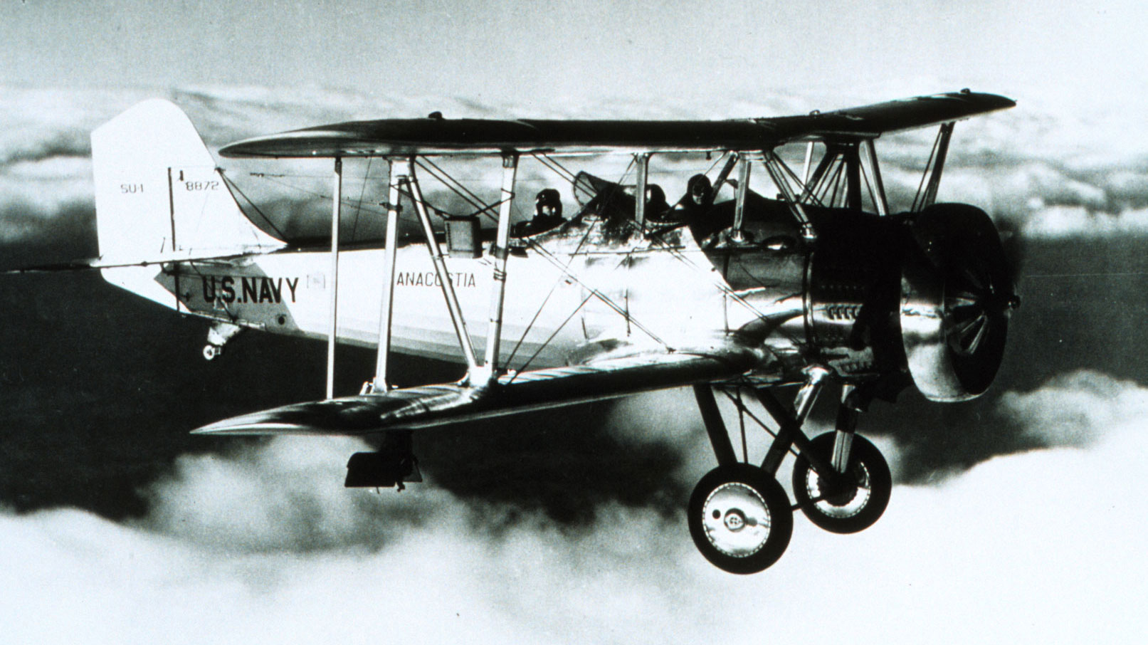 Photo of a Navy biplane with a meteorograph