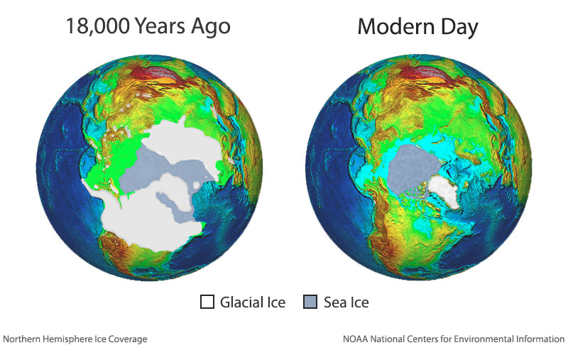 Graphic showing ice coverage from 18,000 years ago compared to modern day