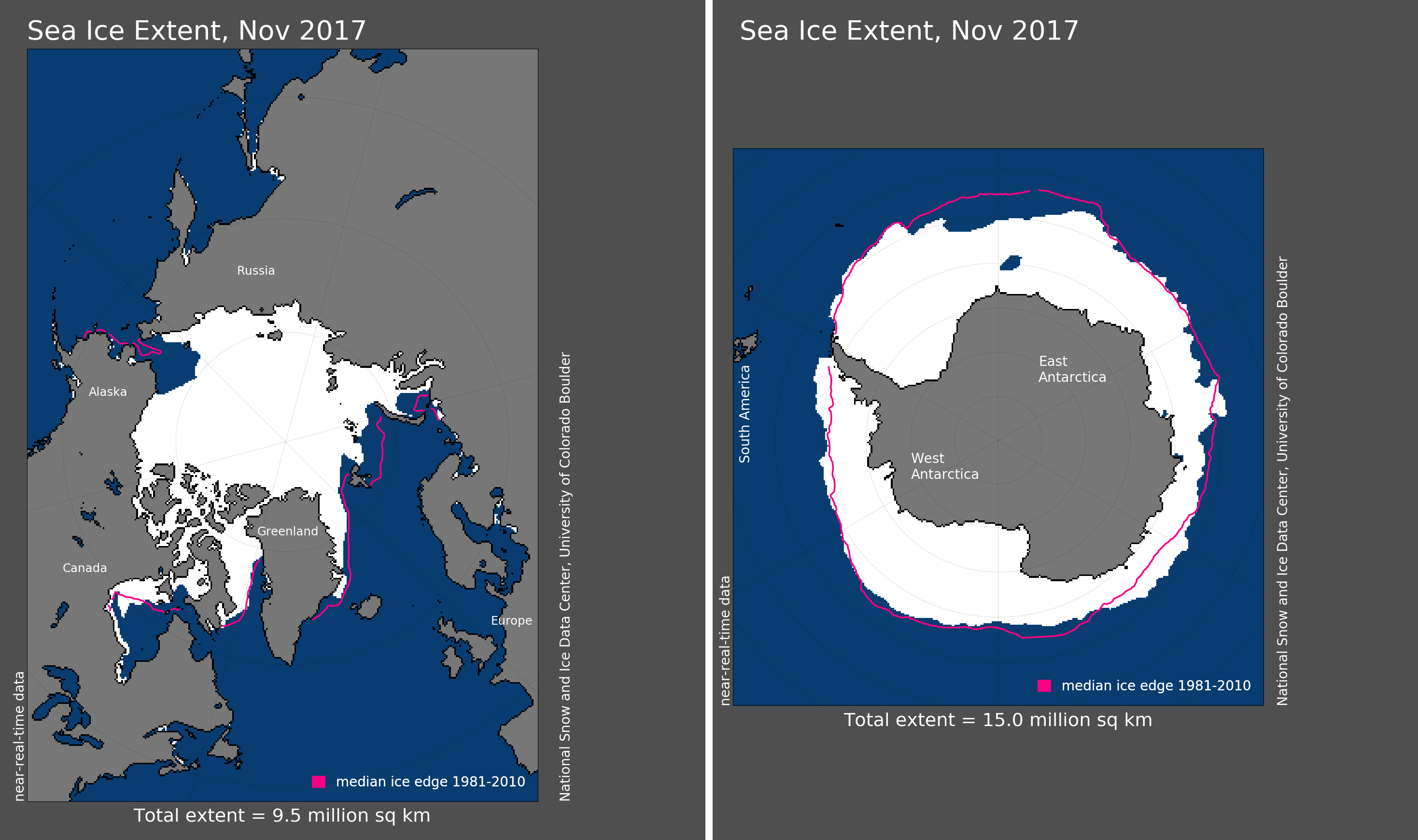 Maps of Arctic and Antarctic sea ice extent in November 2017