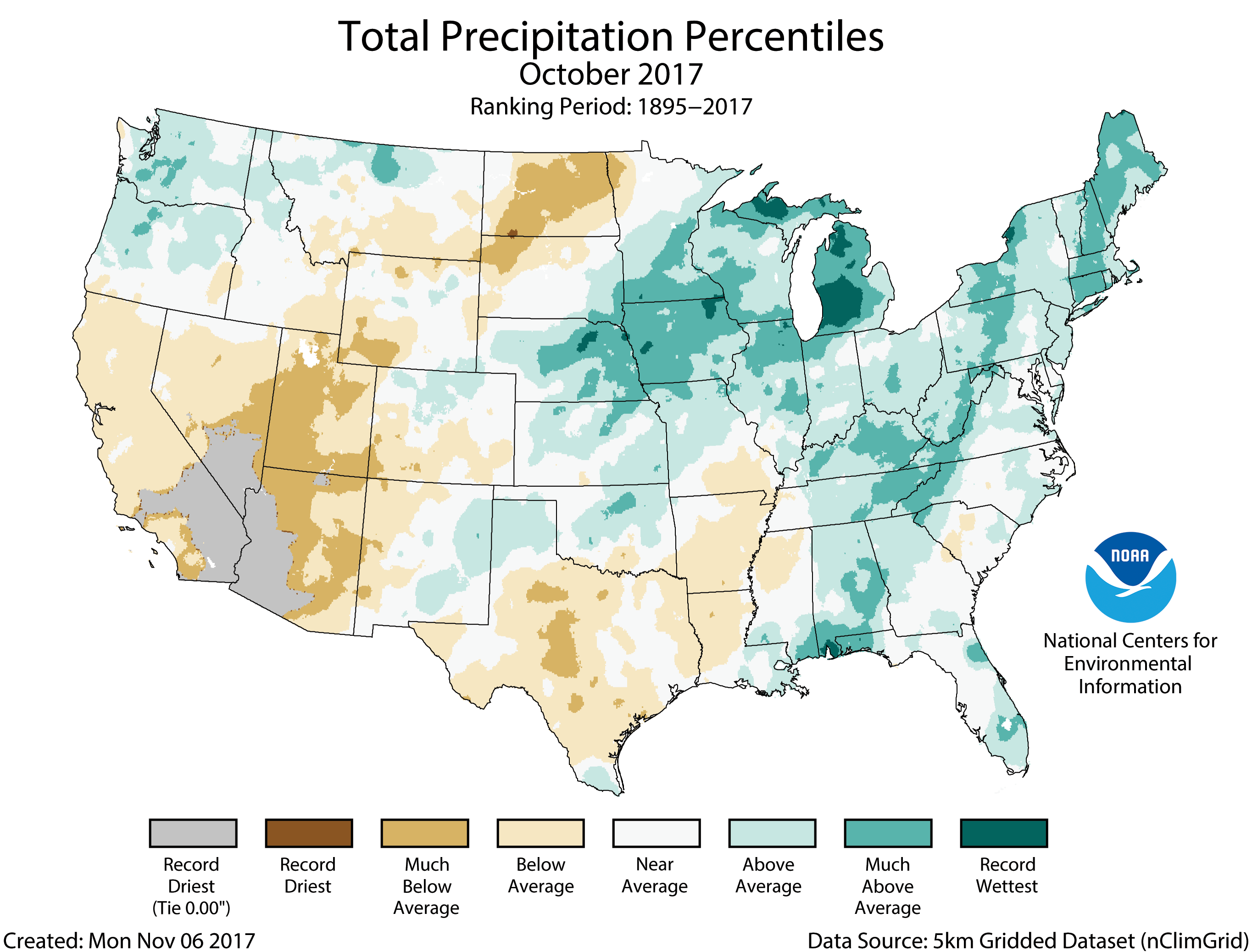 Map of October 2017 U.S. total precipitation percentiles