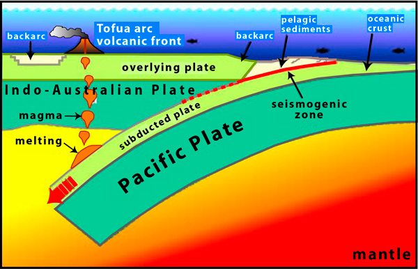 Pacific and Indo-Australian Plates crashing into each other.