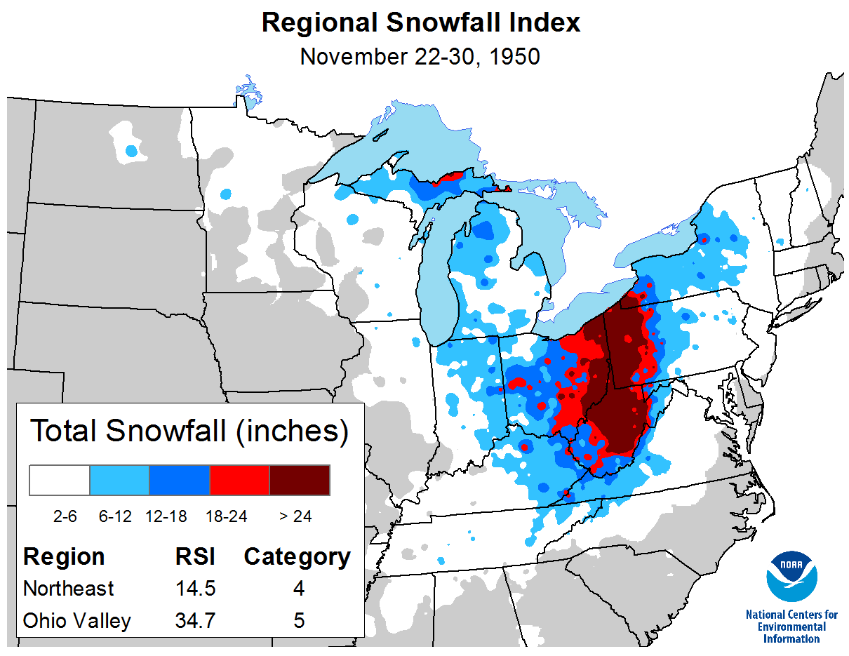 Map of snowfall totals between November 22 and 30, 1950, along with corresponding Regional Snowfall Index information
