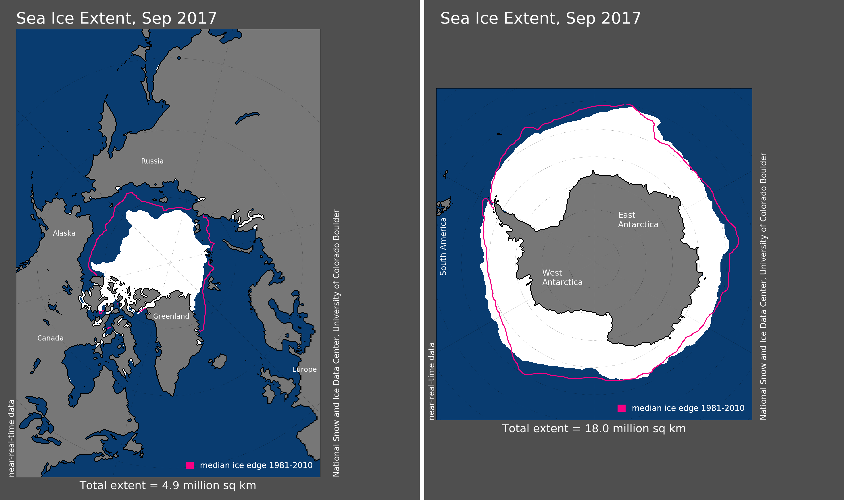 Maps of Arctic and Antarctic sea ice extent in September 2017