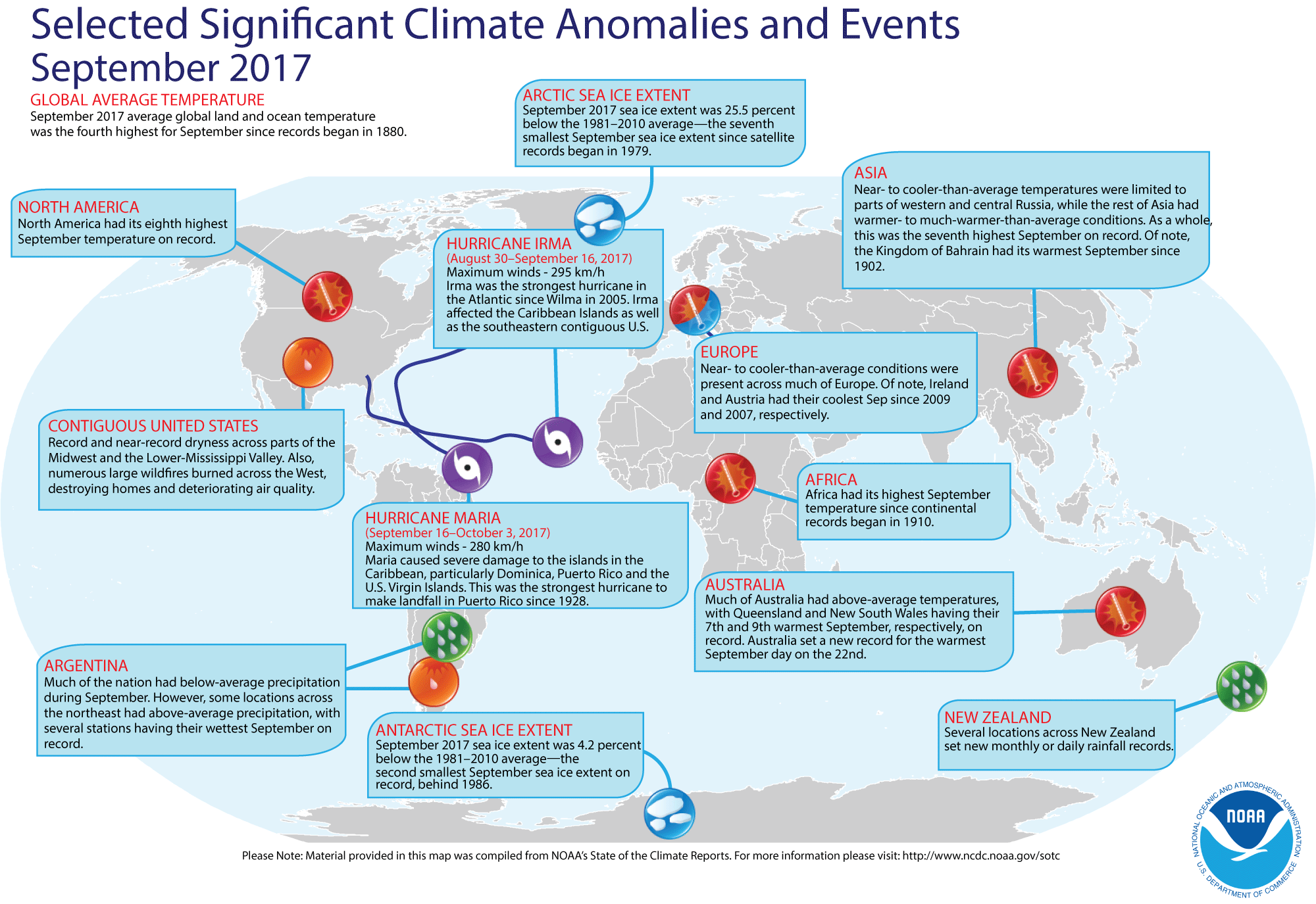 Map of global selected significant climate anomalies and events for September 2017