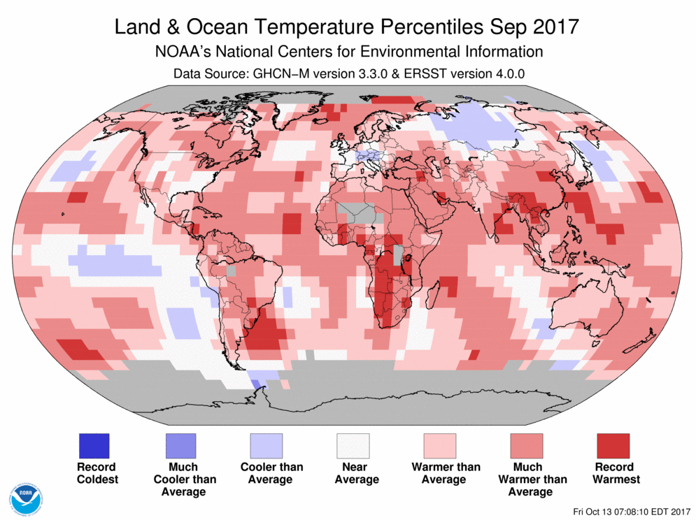 Map of global temperature percentiles for September 2017