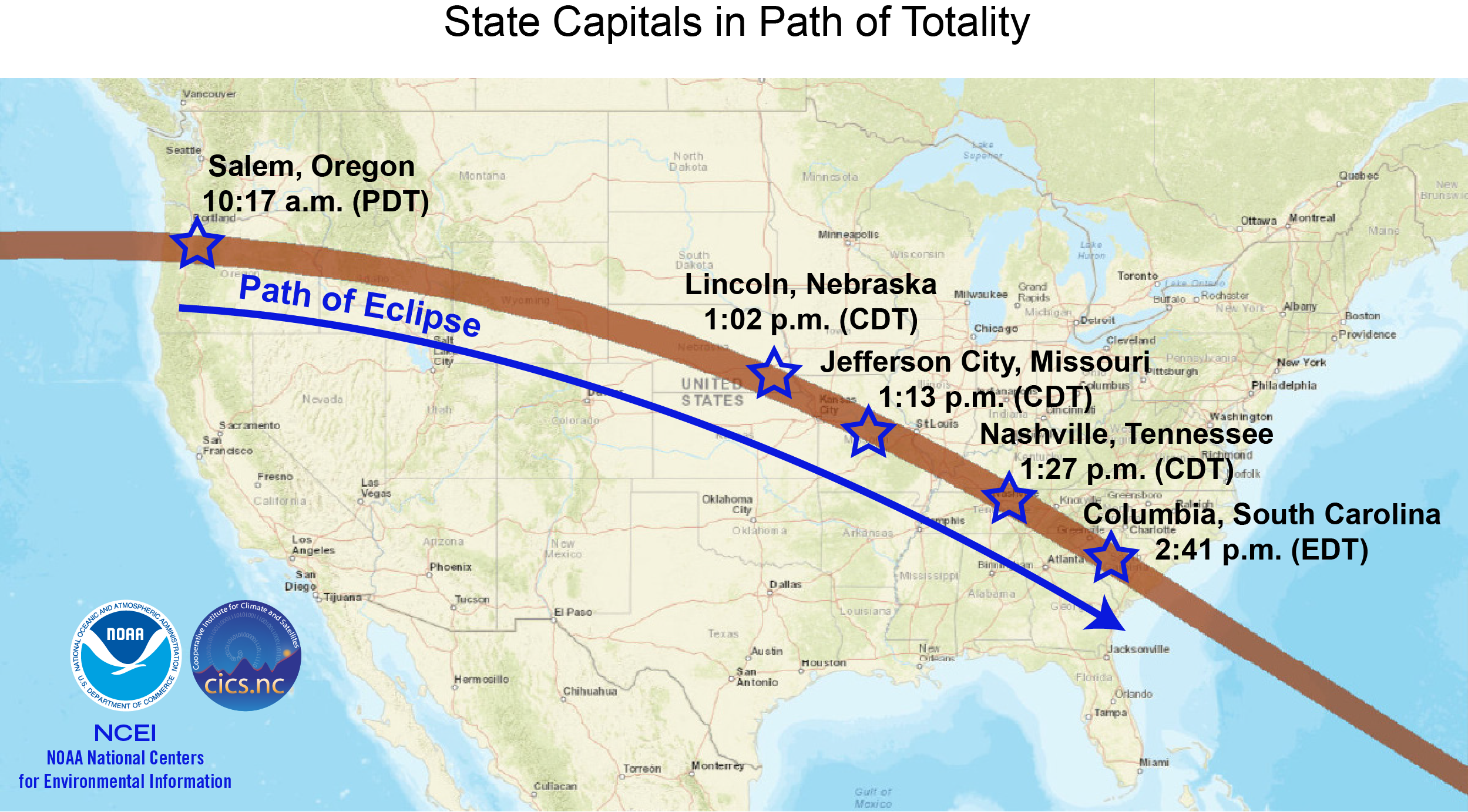 Map of U.S. state capitals in path of total solar eclipse Aug 21 by NOAA NCEI CICS-NC