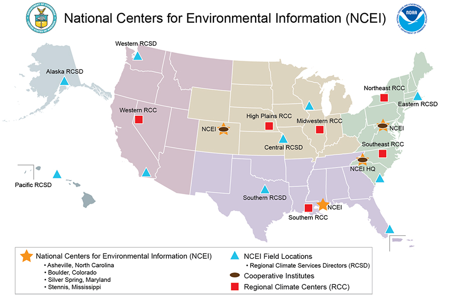 Map showing locations of all data center offices