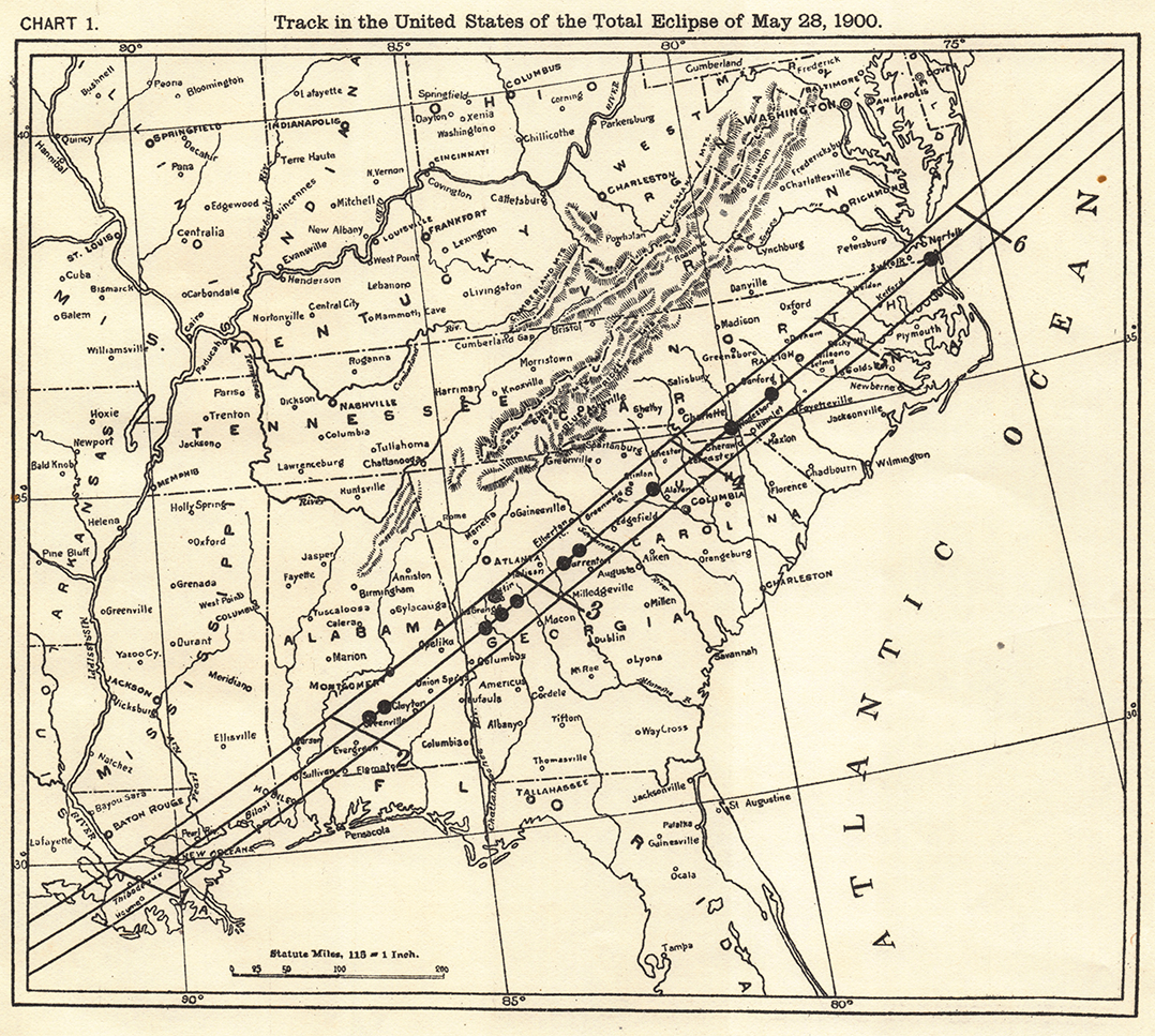 Map of the track of the total eclipse on May 28, 1900