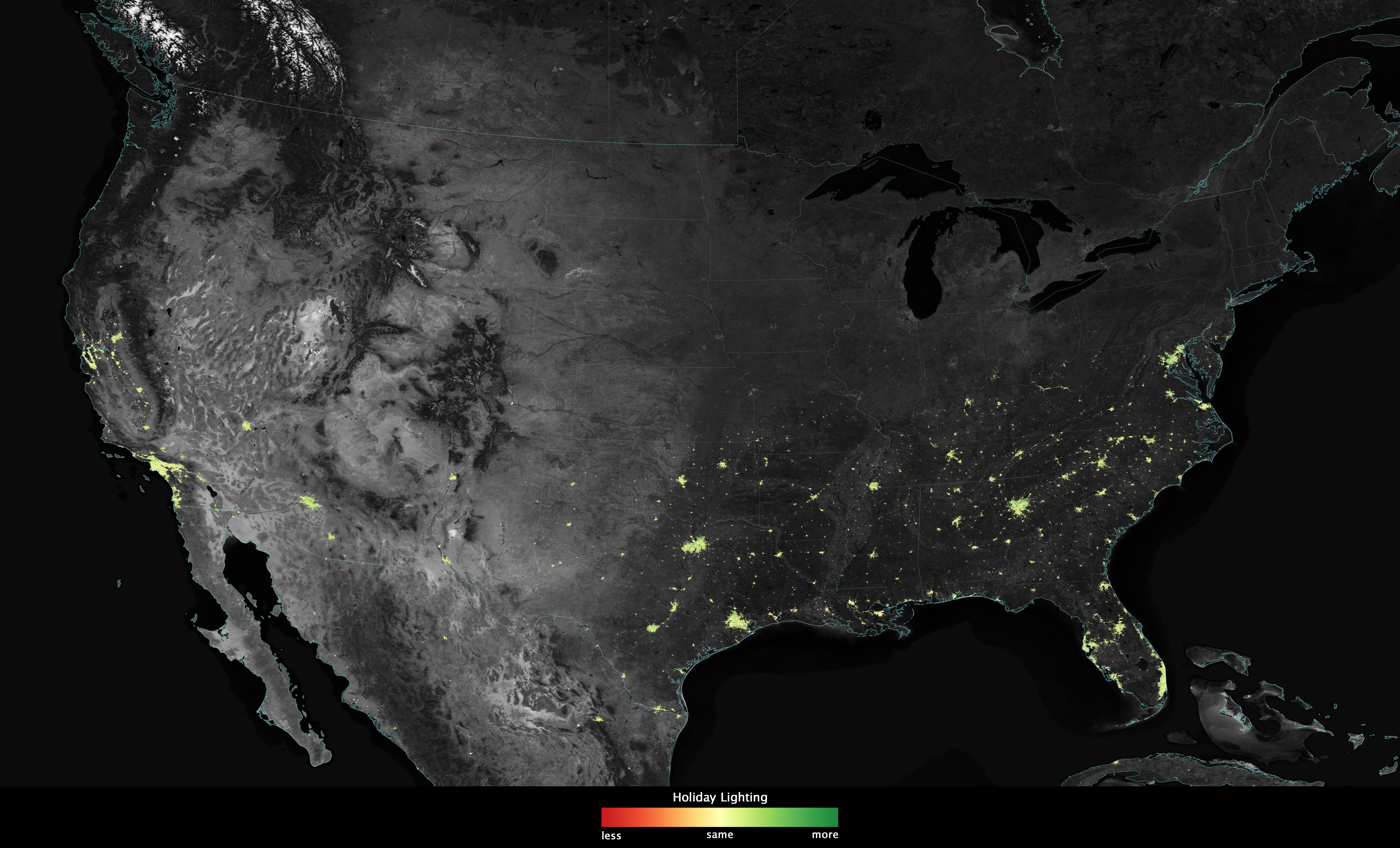 Map of the United States showing an increase in brightness due to holiday lights