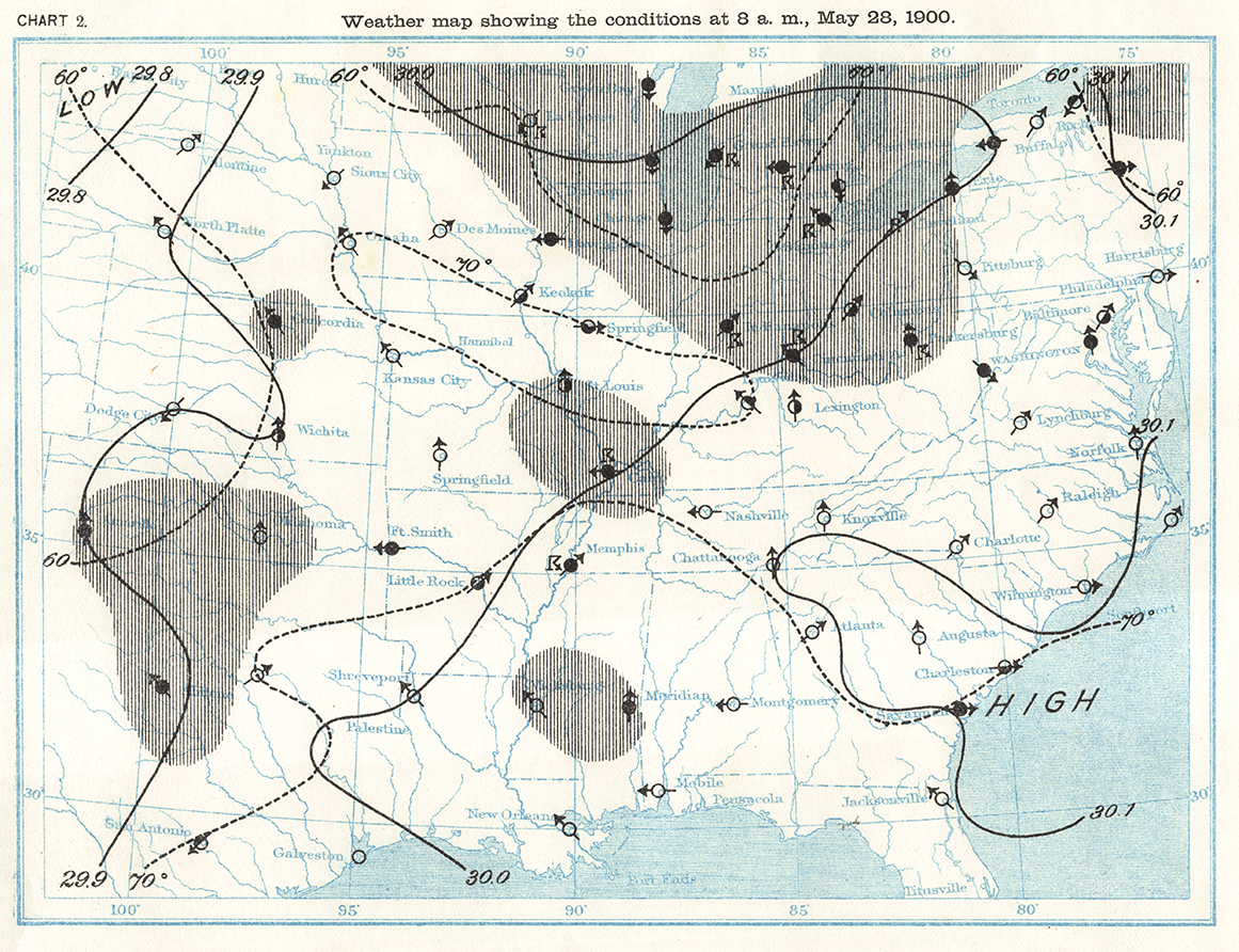 Map showing the weather conditions at 8 a.m. (ET) on May 28, 1900