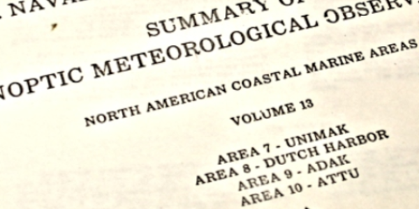 Photo of archival document from U.S. Naval Weather Service
