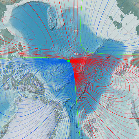 Map of 2015 Arctic magnetic declination