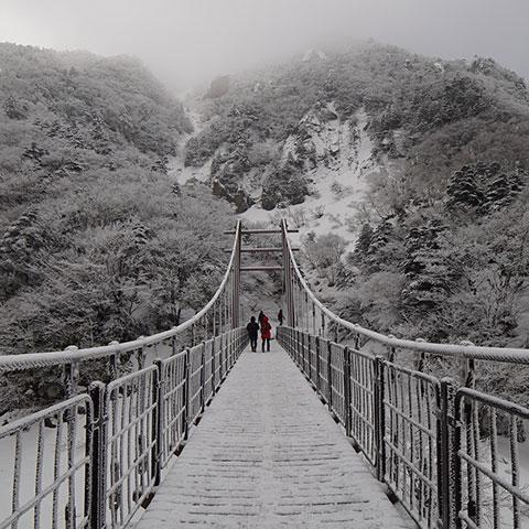 Photo of people crossing a snowy bridge