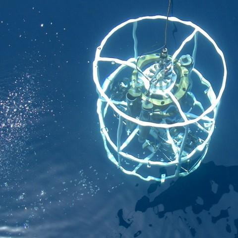 Photo of a CTD device in the Gulf of Mexico from NOAA