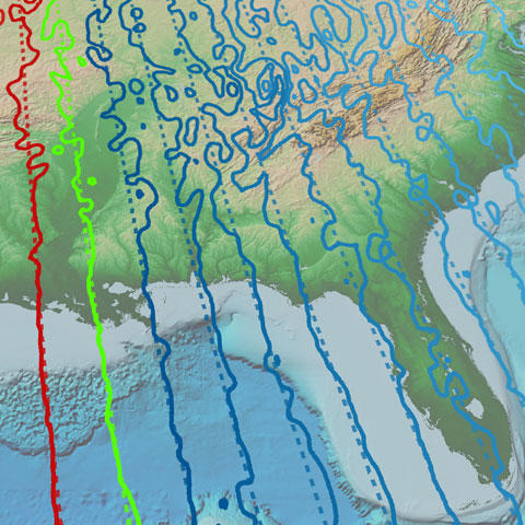 Map comparing declination in the World Magnetic Model and the Enhanced Magnetic Model
