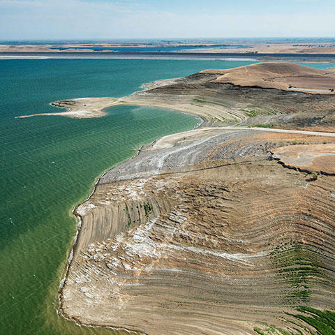 Photo of San Luis reservoir in Gustine, California, on August 19, 2014