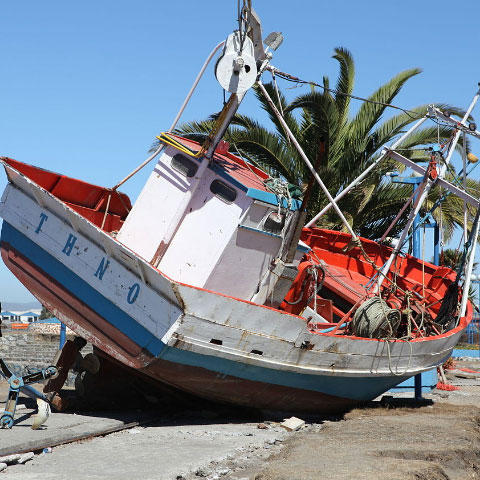 Photo of a boat washed ashore during Maule Chile 2010 tsunami