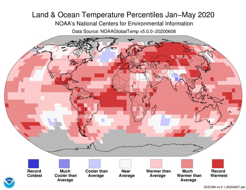 January-May 2020 Global Temperature Percentiles Map