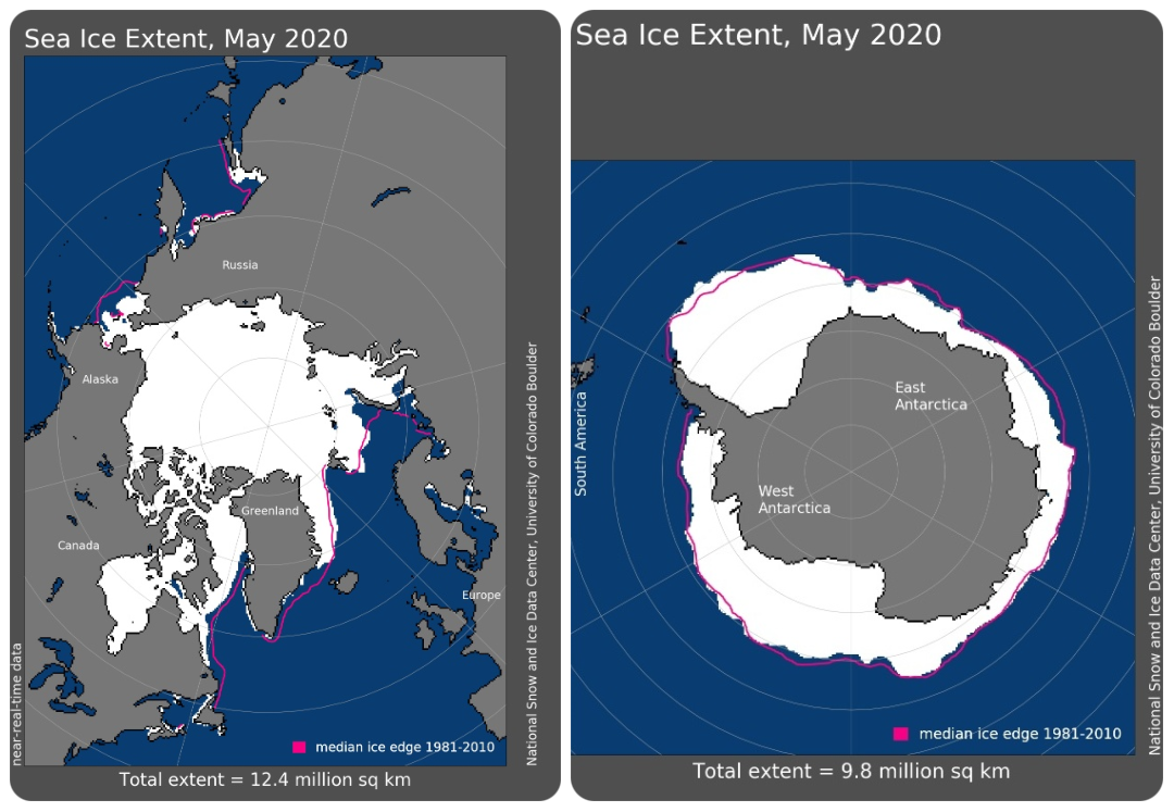 Maps of Arctic and Antarctic sea ice extent in May 2020