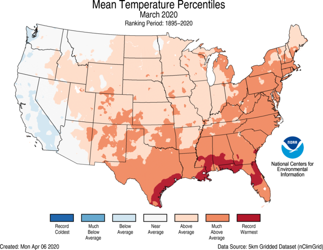 March 2020 U.S. Average Temperature Percentiles Map