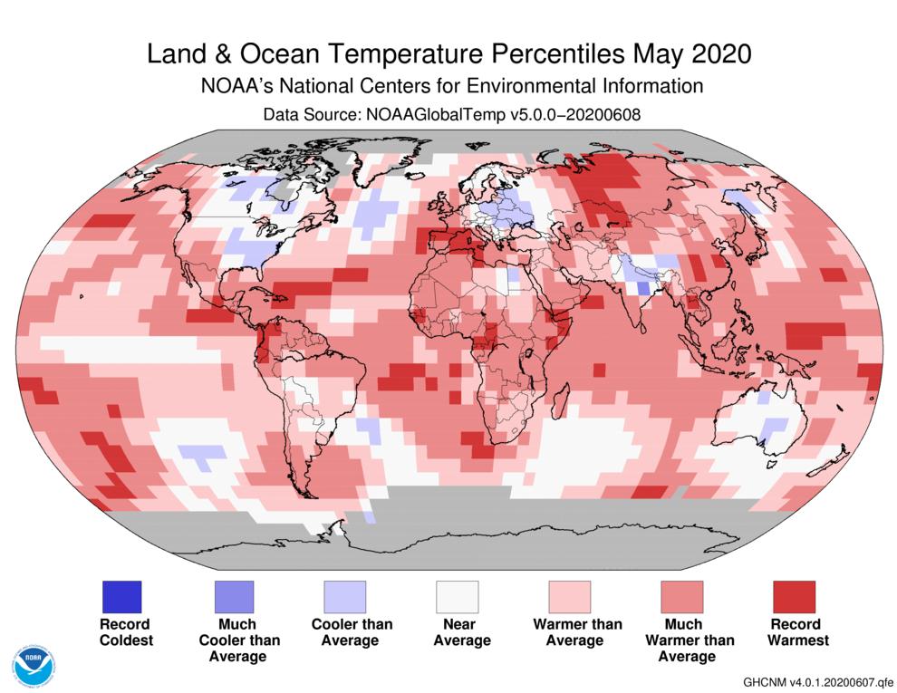 May 2020 Global Temperature Percentiles Map
