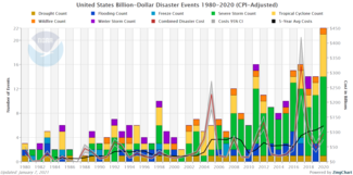 Bar graph of 1980-2020 U.S. billion-dollar disasters annual time series