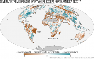 Map of global drought and moisture conditions in 2017