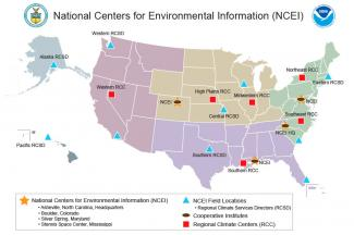 Map showing all NCEI geographic locations
