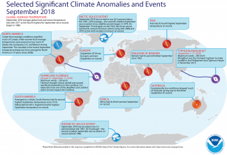 Map of global selected significant climate anomalies and events for September 2018
