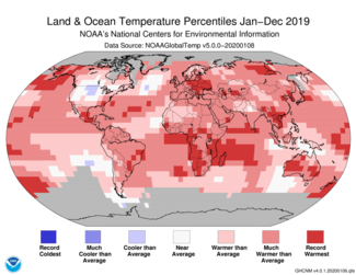 2019 Global Temperature Percentiles Map
