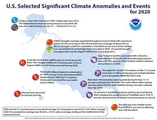 2020 Annual Significant Climate Events Map