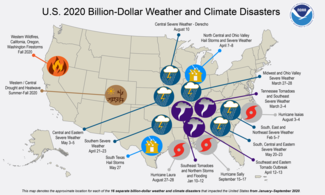 Map of U.S. Billion-Dollar Climate and Weather Disasters from January 2020 through September 2020