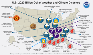 Map of 2020 U.S. billion-dollar weather and climate disasters