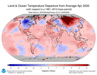 April 2020 Global Land and Ocean Temperature Departures from Average Map