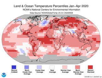 January to April 2020 Global Land and Ocean Temperature Percentiles Map