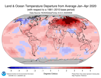 January-to-April 2020 Land and Ocean Temperature Departures from Average Map