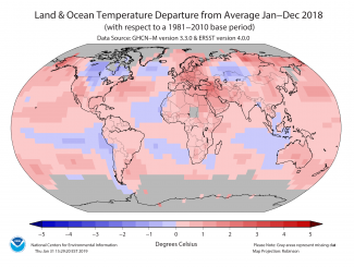 Map of global departure from normal temperature percentiles January to December 2018