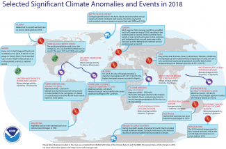 Map of global selected significant climate anomalies and events for 2018