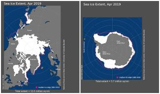 Maps of Arctic and Antarctic sea ice extent in April 2019