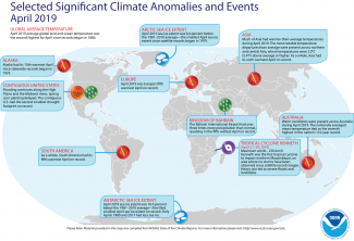 Map of global selected significant climate anomalies and events for April 2019
