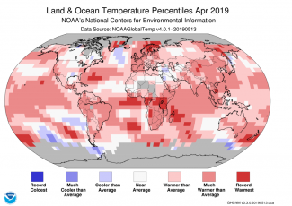 Map of global temperature percentiles for April 2019